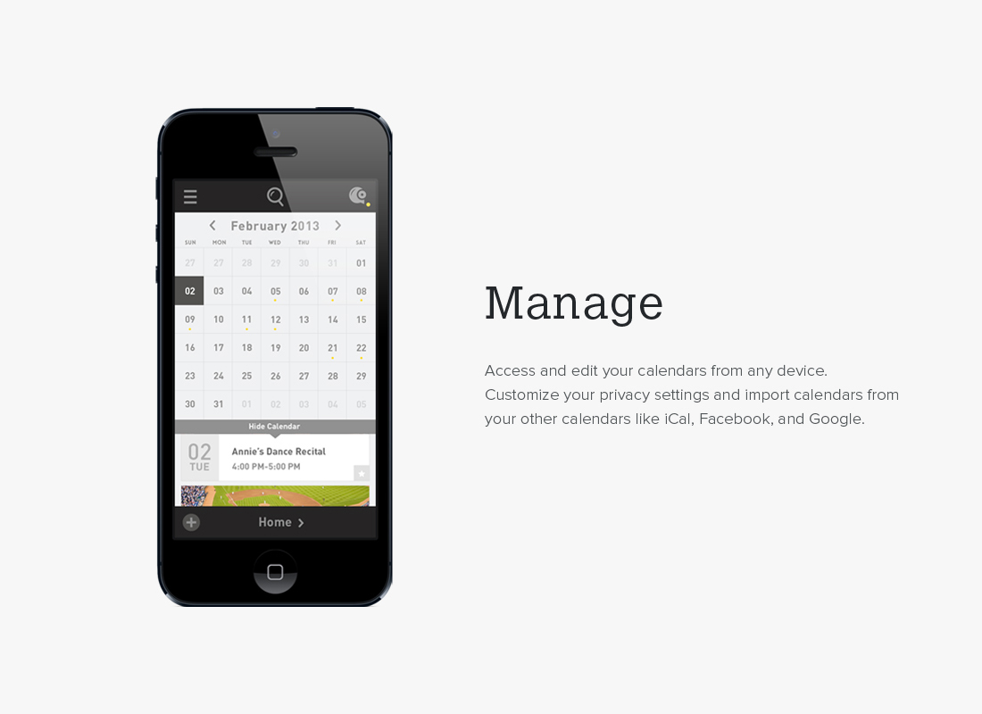 Mobile UI mockup for Calhoot app - Manage features